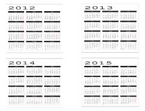 Calendar from 2012 to 2015. Calendar in Spanish 2012-2013-2014-2015 Royalty Free Stock Images