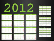 Calendar from 2012 to 2015. Calendar in Spanish 2012-2013-2014-2015 Stock Images