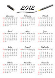 Calendar for 2012 (vector). A calendar for the year 2012, week starts with Sunday (vector vector illustration