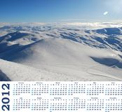 Calendar 2012  with view of snow mountains Royalty Free Stock Image