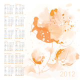 Calendar 2012 with watercolor flowers Royalty Free Stock Image