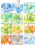 Calendar 2012. Weather. Vector drawn Calendar 2012 with typical weather for every month Stock Photo