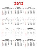 Calendar for 2012 on white, vector format Stock Photography