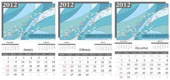 Calendar 2012. Winter. Winter month. 2012 Calendar. Times New Roman and Garamond fonts used. A3 Stock Illustration