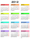 Calendar for 2012 year. Colorful calendar for 2012 year Royalty Free Illustration