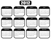 Calendar for 2012 year. With black boxes Royalty Free Stock Image