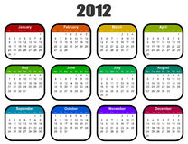 Calendar for 2012 year. Colorful calendar for 2012 year Royalty Free Stock Images