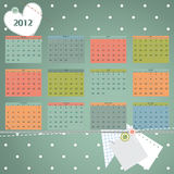 Calendar 2012 year. First day of week beginning on Sunday. Scrapbook retro style vector illustration Stock Illustration