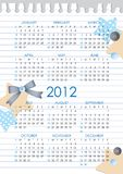 Calendar 2012 year. Calendar grid of 2012 year on realistic paper sheet Stock Photo