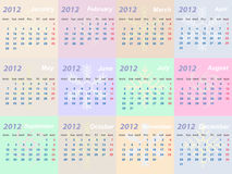 Calendar 2012 year. (week starts on Monday stock illustration