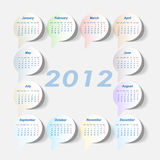 Calendar 2012 year. With stickers (week starts on Monday stock illustration