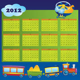 Calendar 2012 year for children. First day of week beginning on Sunday. Vector illustration vector illustration