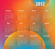 Calendar for 2012 year on colorful background Stock Images
