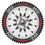 Calendar 2012 year  wheel car. Stock Image