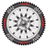 Calendar 2012 year wheel car. The Calendar 2012 year wheel car Vector Illustration