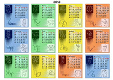 Calendar 2012 with zodiac signs. Vector calendar for year 2012 divided by seasons and with zodiac signs on every month's view Royalty Free Stock Image