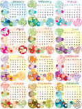 Calendar 2012 with zodiac signs. And pop art disco dots Vector Illustration