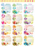 Calendar 2012 with zodiac signs Royalty Free Stock Images