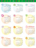 Calendar 2012 with zodiac signs. And pop art disco dots Royalty Free Illustration
