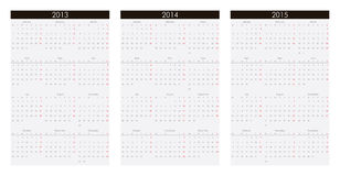 Calendar 2013, 2014, 2015. Calendar grids for the year 2013, 2014, 2015 stock illustration