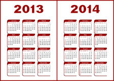 Calendar 2013,2014. Calendar for 2013,2014.Red letters and figures on a white background vector illustration