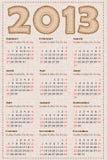 Calendar 2013. Vector illustration. Simulation of fabric texture Royalty Free Stock Photo