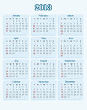 Calendar 2013. Business calendar 2013 (week starts on Sunday Stock Photos
