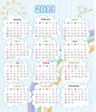 Calendar 2013. 2013 year calendar with rainbow (week starts on Sunday Stock Images
