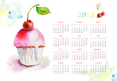 Calendar for 2013. Watercolor illustration of cake Royalty Free Stock Image
