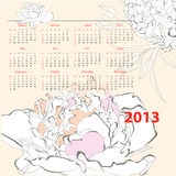 Calendar for 2013. With Peony flowers Stock Images