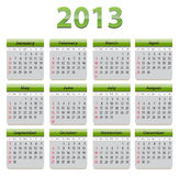 Calendar for 2013. Green glossy calendar for 2013 year. Vector royalty free illustration