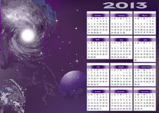 Calendar 2013. With planet and stars vector illustration