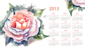 Calendar for 2013. Pink Rose Calendar for 2013 Stock Photos