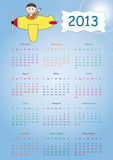 Calendar 2013. Cute calendar on New Year 2013 for kids stock illustration