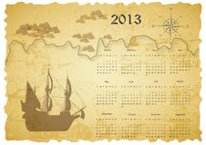 Calendar 2013. Cute calendar on New Year 2013 with old treasure map Royalty Free Stock Image