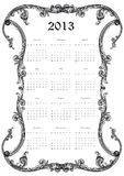 Calendar 2013. Cute calendar on New Year 2013 antique frame vector illustration