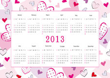 Calendar 2013. Cute calendar on New Year 2013 for love stock illustration