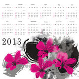 Calendar 2013. Cute calendar on New Year 2013 with flowers royalty free illustration
