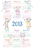 Calendar 2013. Cute calendar on New Year 2013 for kids Royalty Free Stock Photos