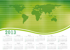 Calendar 2013. Cute calendar on New Year 2013 with ecology world Stock Images