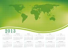 Calendar 2013. Cute calendar on New Year 2013 with ecology world stock illustration