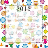 Calendar 2013. Cute calendar on New Year 2013 for kids royalty free illustration