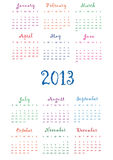 Calendar 2013. Cute calendar on New Year 2013 for kids Stock Images