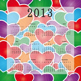 Calendar 2013. Cute calendar on New Year 2013 with hearts royalty free illustration