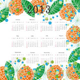 Calendar 2013. Cute calendar on New Year 2013 with flowers stock illustration