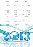 Calendar 2013. Cute calendar on New Year 2013 with globe Stock Photos