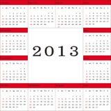 Calendar 2013. Cute and simple calendar on New Year 2013 Royalty Free Stock Photos