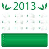 Calendar for 2013 Royalty Free Stock Photos