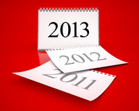 Calendar 2013. 3D desktop calendar 2011 in red background Royalty Free Stock Images