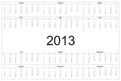 Calendar 2013. 2013 calendar designed by computer using design software, with white background Royalty Free Stock Images